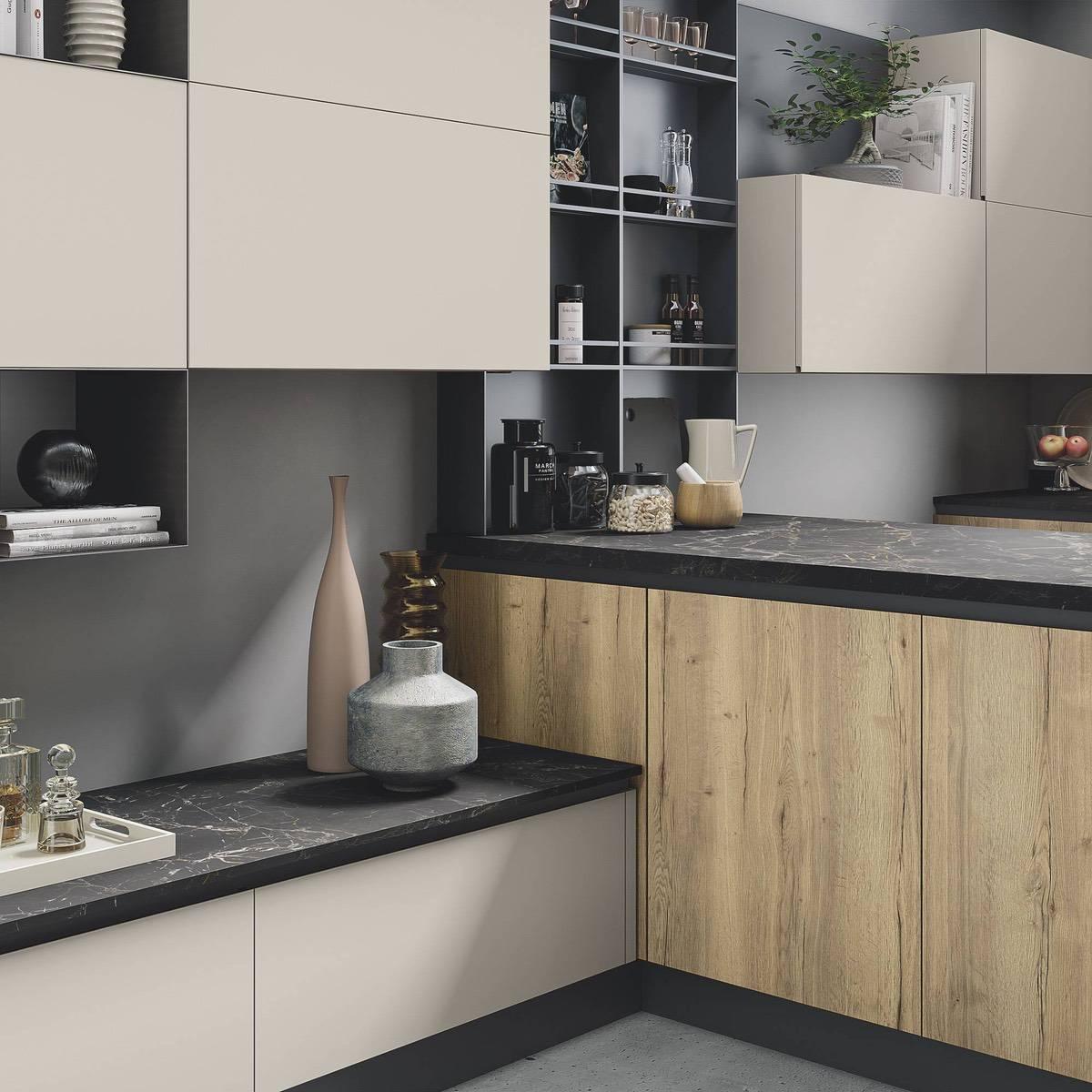 cucina moderna di design Star corda opaco naturale tavolato