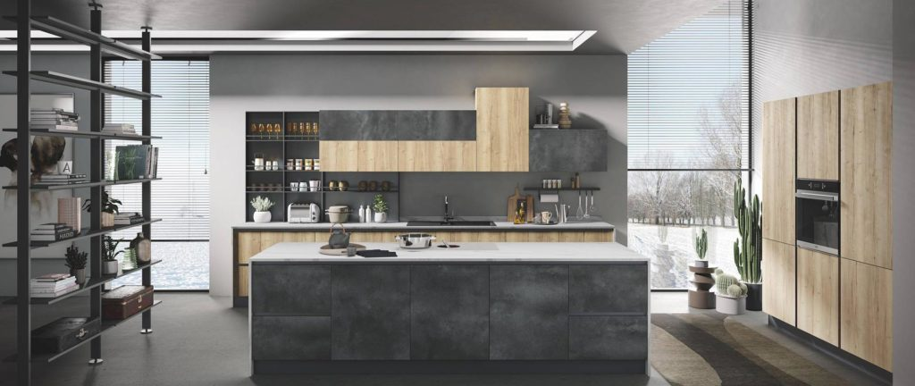 modern kitchen with impeccable design Star pietra grigia naturale tavolato