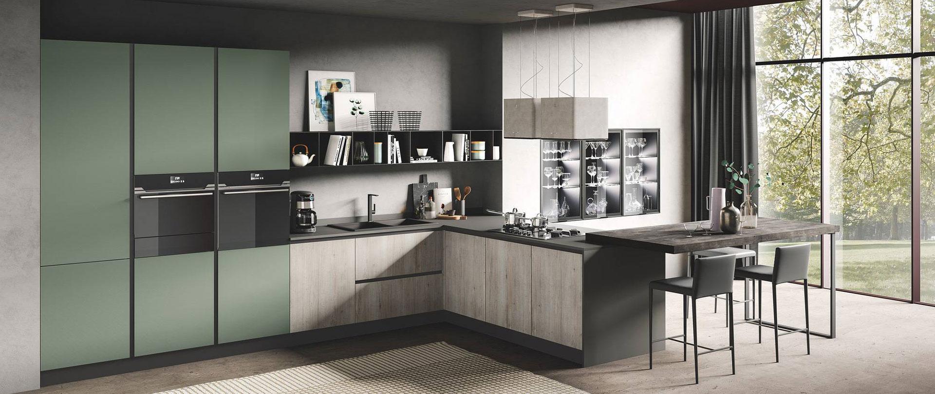 cucina moderna di design Star corda tavolato verde muschio opaco