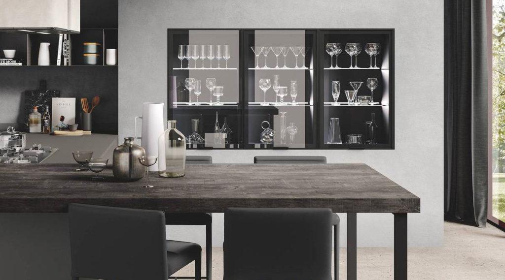 modern kitchen with impeccable design Star corda tavolato verde muschio opaco