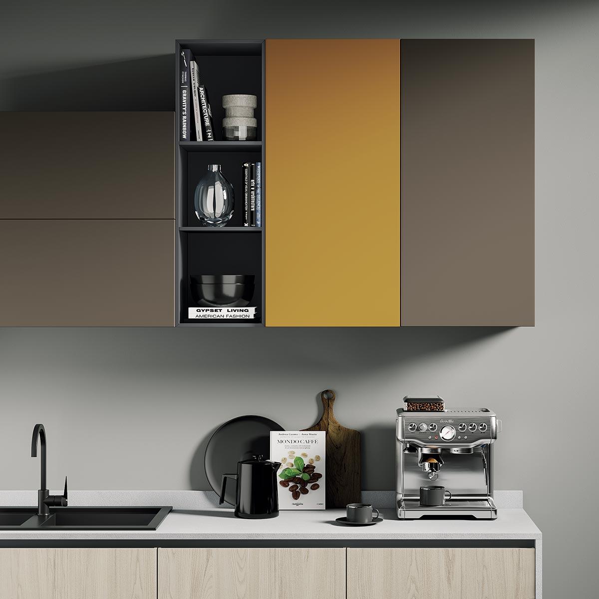 Cucina ergonomica Hilary in ciliegio naturale camoscio senape grafite