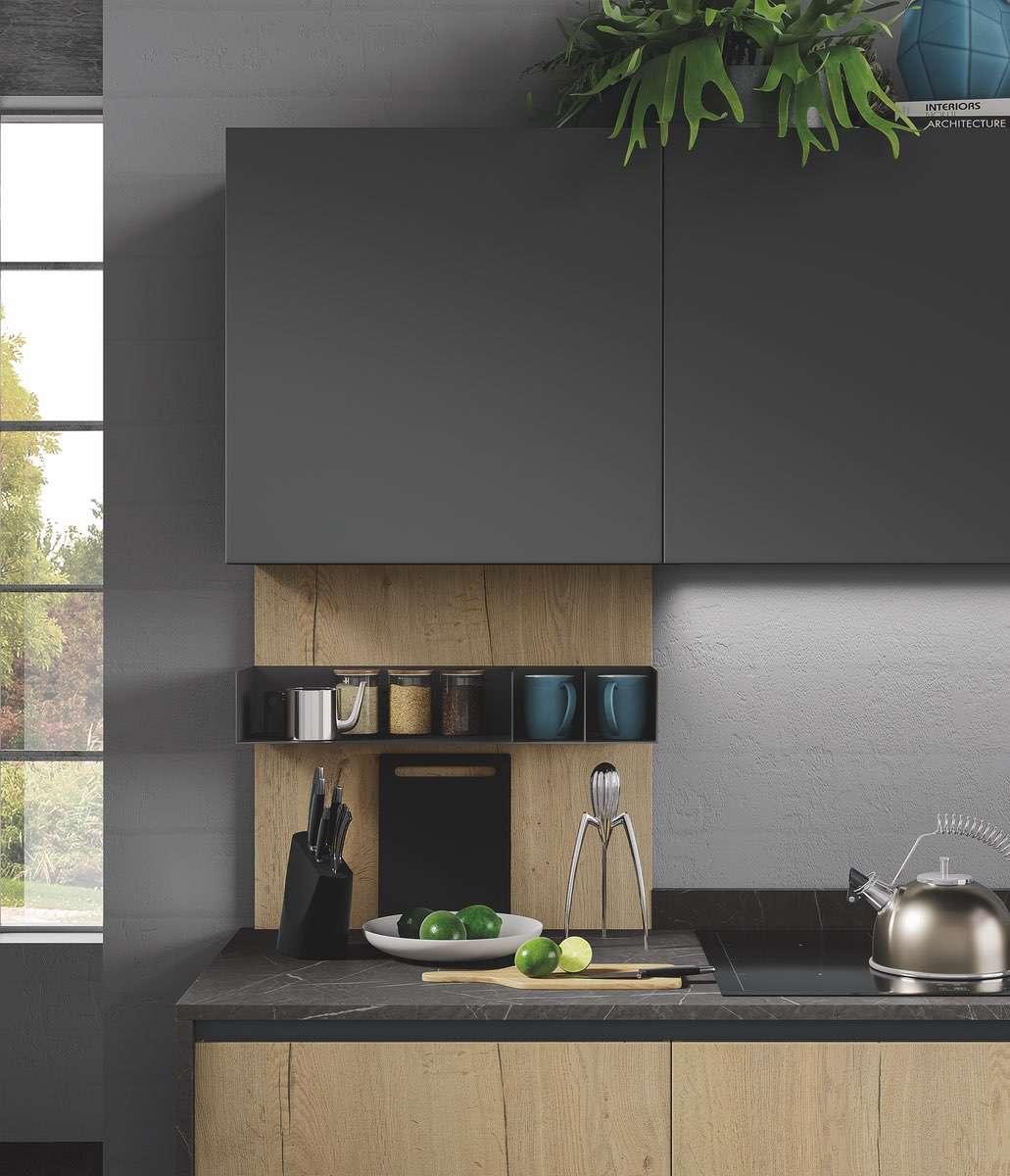 Cucina ergonomica Hilary rovere naturale grafite