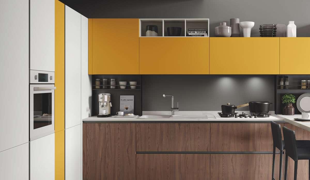 Cucina ergonomica Hilary ciliegio cognac bianco senape