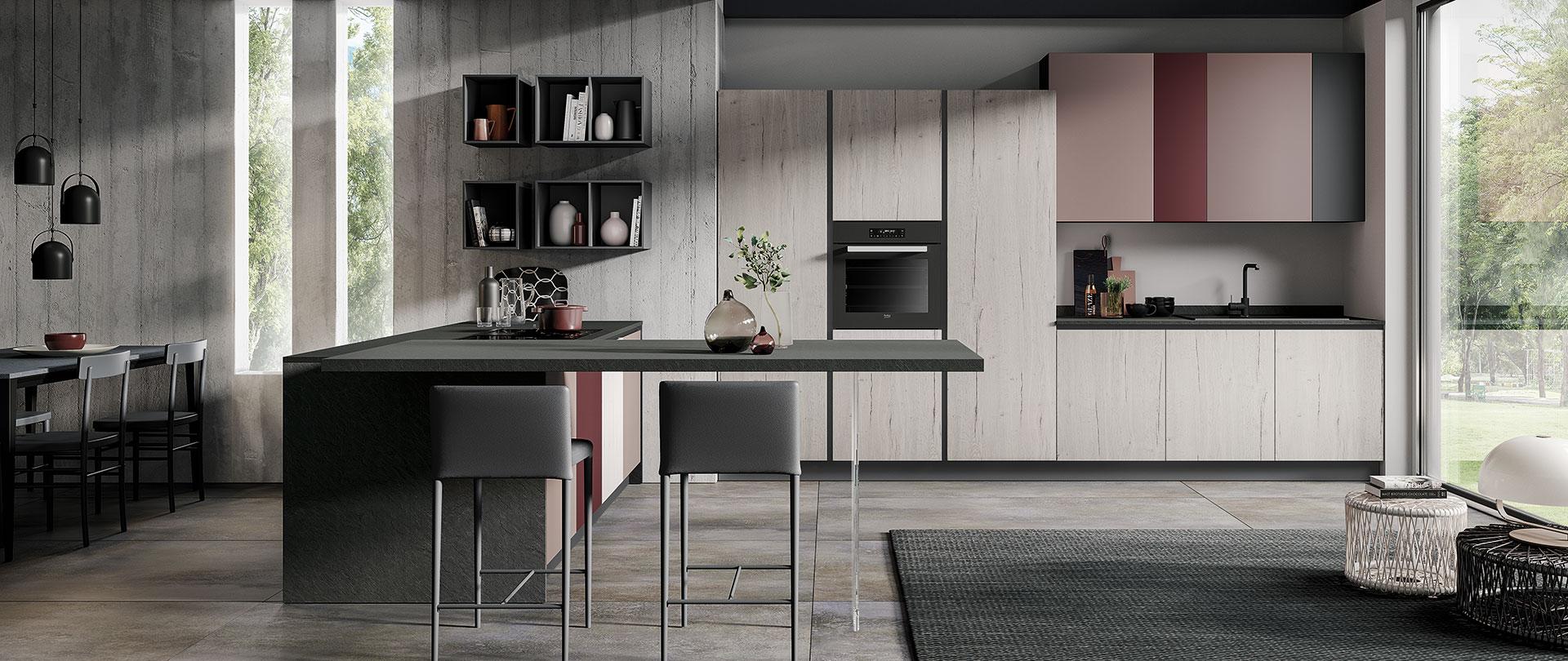 Cucina ergonomica Hilary rovere bianco rosa antico bordeaux grafite