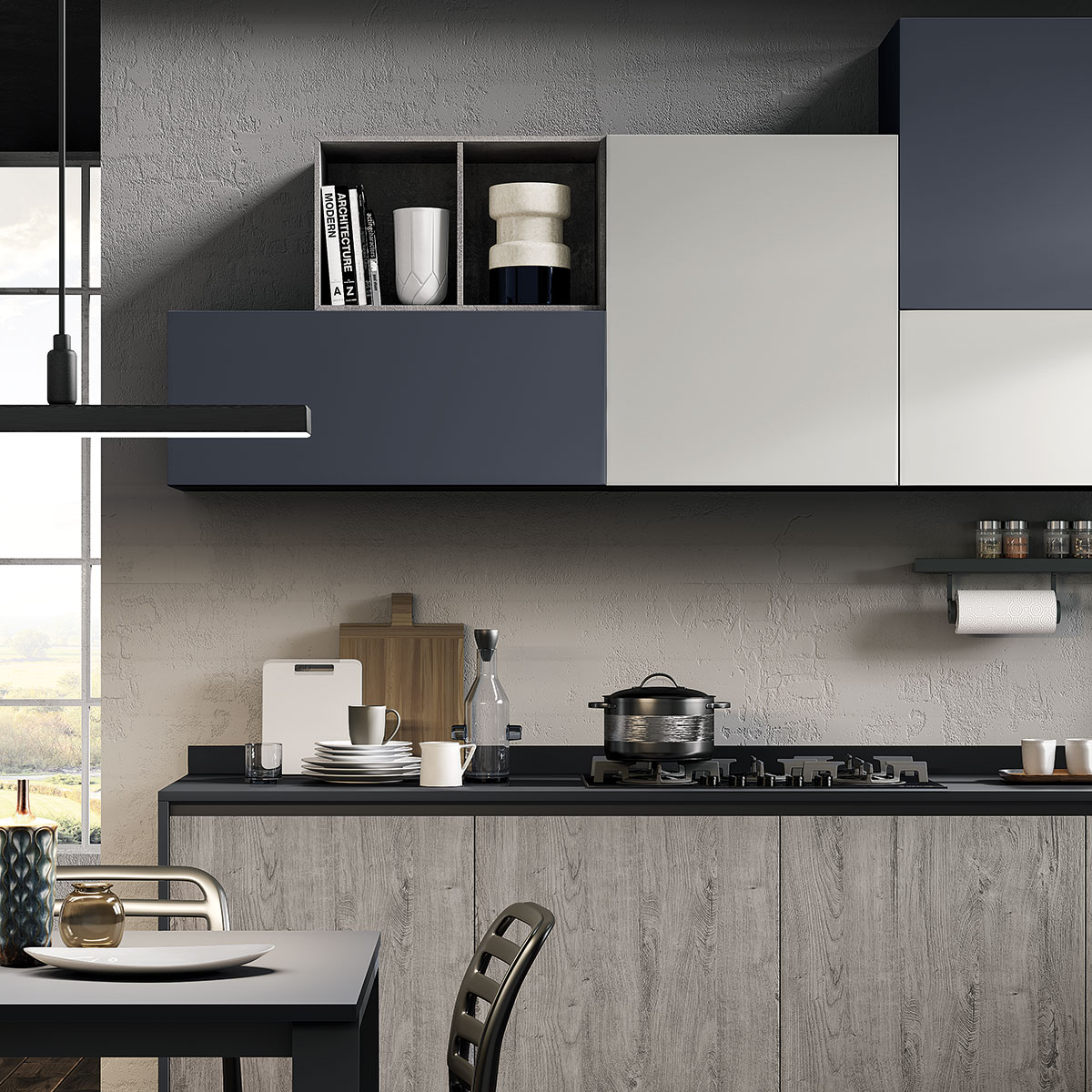 Cucina ergonomica Hilary rovere grigio madreperla blue