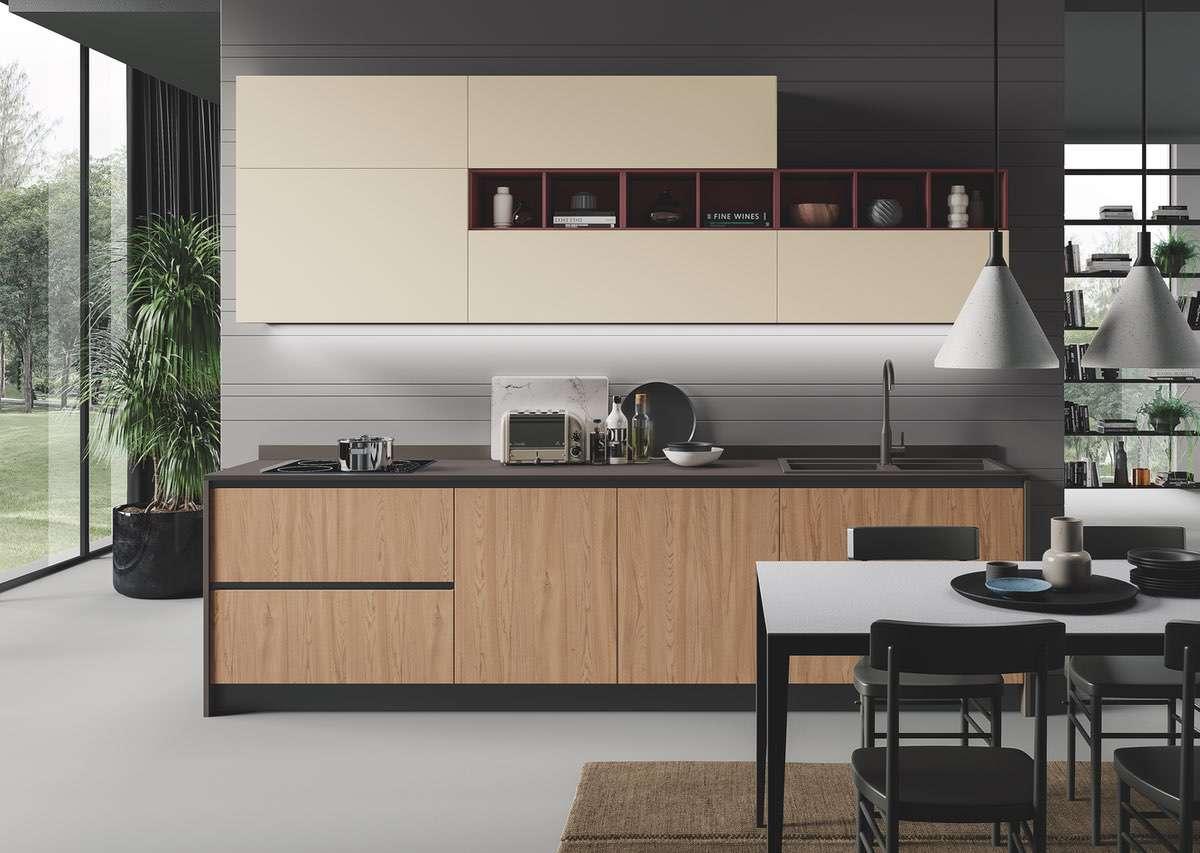 Cucina ergonomica Hilary ciliegio dorato magnolia
